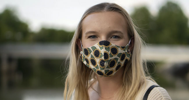 Young lady wearing a mask