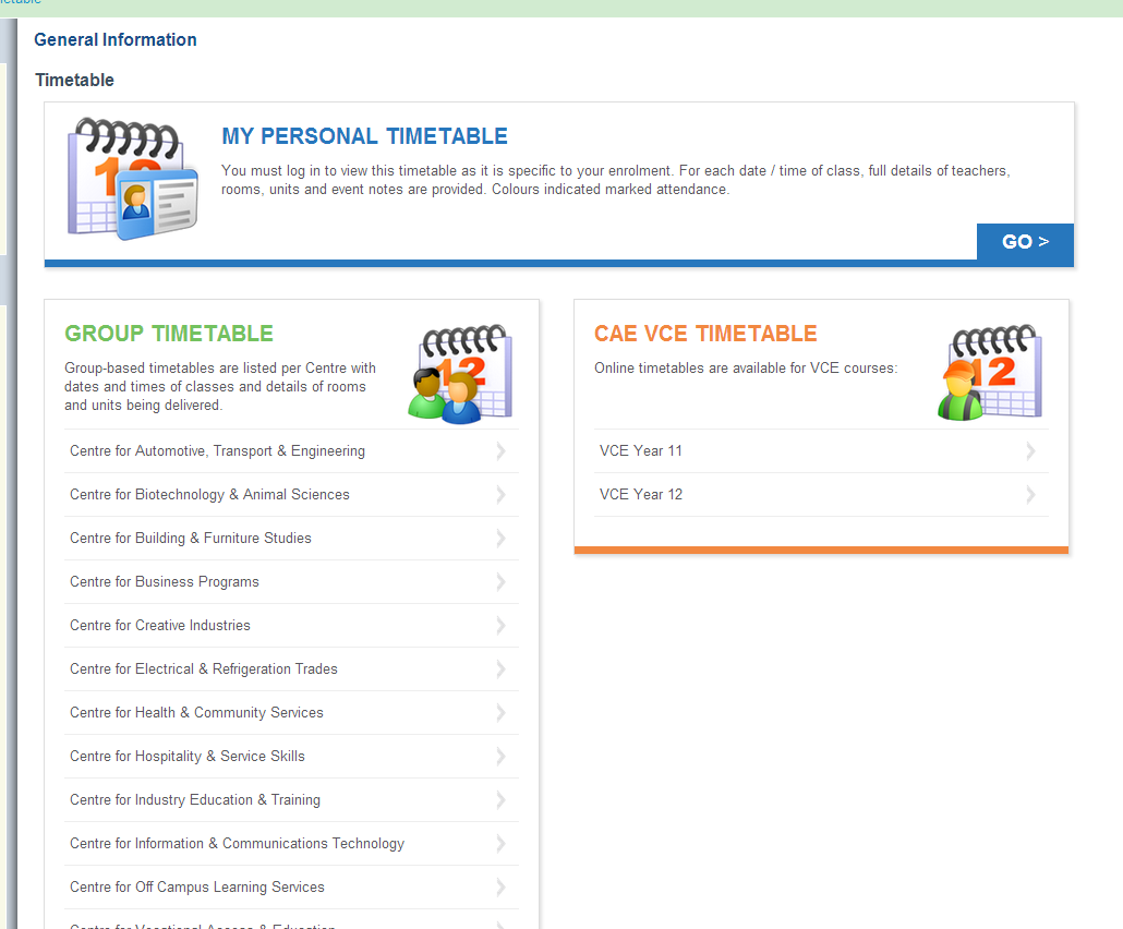 New timetables page