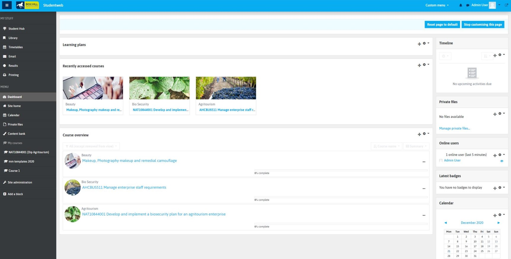 Screenshot of the new moodle dashboards