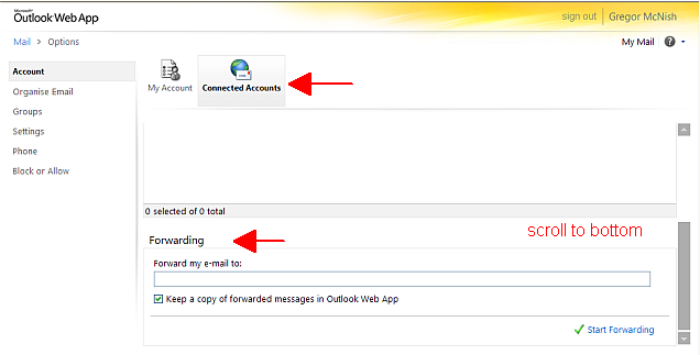then connected accounts, scroll to bottom for email forwarding